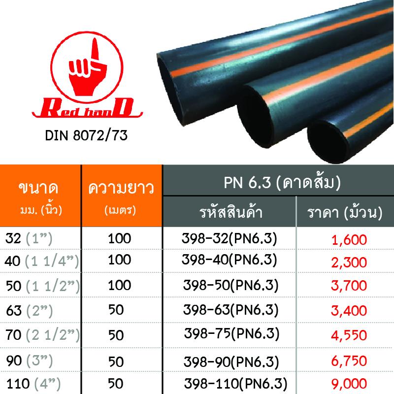 ท่อ PE คาดส้ม (HDPE PIPE) ทนแรงดัน 6 3 บาร์ ใช้เป็นท่อประธานของระบบน้ำ หรือ  งานร้อยสายไฟต่างๆ